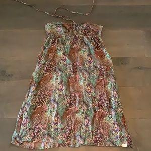 Strapless Peacock Pattern  Dress